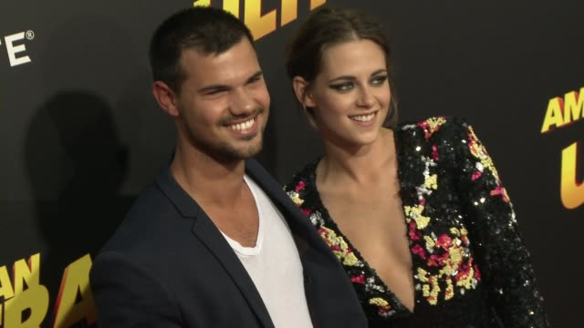kristen stewart and taylor lautner at the american ultra los angeles premiere at the theatre at the ace hotel on august 18 2015 in los angeles... - kristen stewart stock videos and b-roll footage