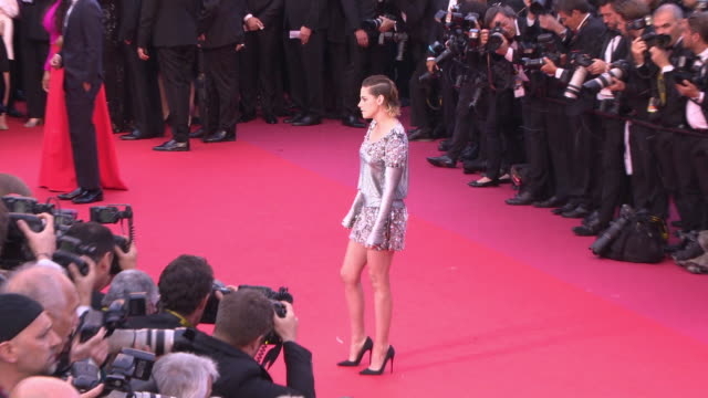 kristen stewart at blackkklansmann red carpet arrivals the 71st cannes film festival at grand theatre lumiere on may 14 2018 in cannes france - international cannes film festival stock videos & royalty-free footage