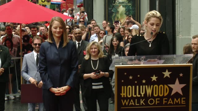 speech kristen stewart at jodie foster honored with star on the hollywood walk of fame at hollywood walk of fame on may 04 2016 in hollywood... - kristen stewart stock videos and b-roll footage