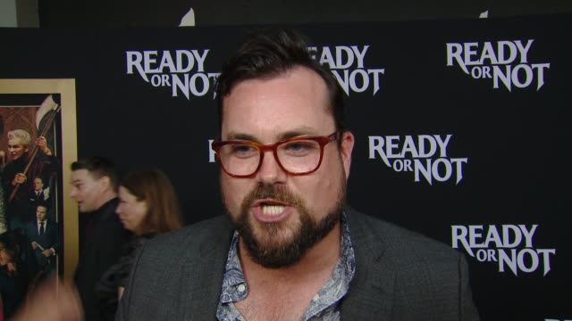 """interview kristian bruun on his character and the movie at the """"ready or not"""" los angeles special screening presented by fox searchlight pictures in... - fox searchlight pictures stock videos & royalty-free footage"""