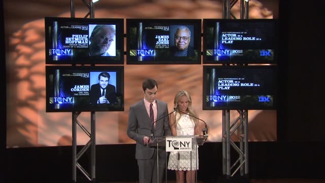 kristin chenoweth and jim parsons announce tony nominees at 2012 tony awards nominations announcement on 5/1/2012 in new york ny - jim parsons stock videos and b-roll footage