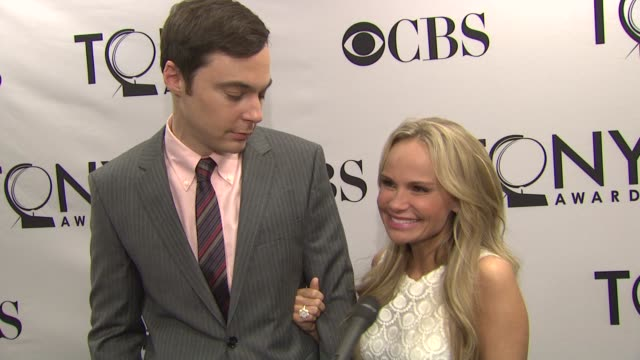 kristin chenoweth and jim parsons on how it felt to announce this years nominations on being nervous and wanting to get the names right kristin on... - jim parsons stock videos and b-roll footage