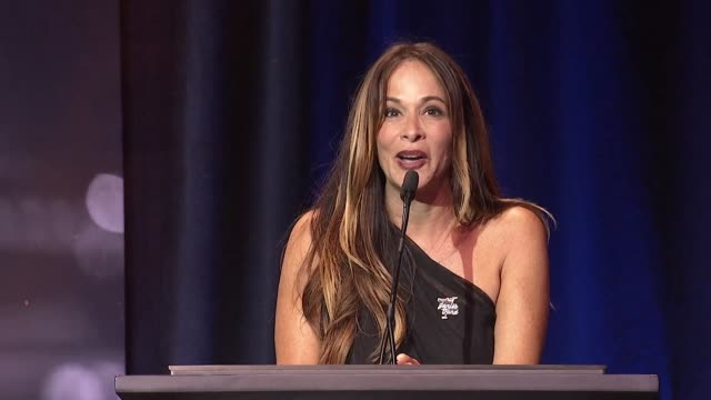 speech kristin dattilo at steven tyler's third annual grammy awards viewing party to benefit janie's fund presented by live nation at raleigh studios... - grammy awards stock-videos und b-roll-filmmaterial