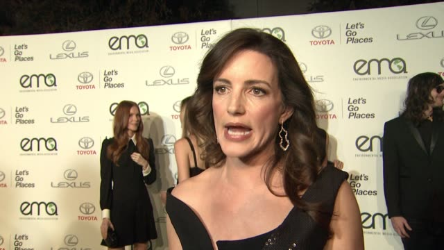 interview kristin davis on being honored tonight on ema's work on how far they've come in twenty five years on her working with elephants and oxfam... - kristin davis stock videos and b-roll footage