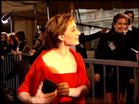 kristin scott thomas at the 1997 golden globe awards at the beverly hilton in beverly hills, california on january 19, 1997. - golden globe awards stock videos & royalty-free footage