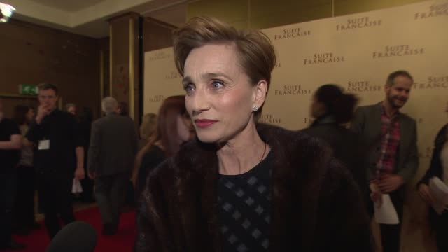 interview kristin scott thomas on jeremy clarkson at 'suite francaise' uk gala screening at the mayfair hotel on march 12 2015 in london england - jeremy clarkson stock videos & royalty-free footage