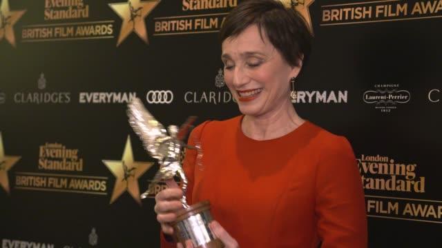 kristin scott thomas on winning the award, what it means to her at evening standard british film awards at claridge's hotel on february 8, 2018 in... - 映画賞点の映像素材/bロール