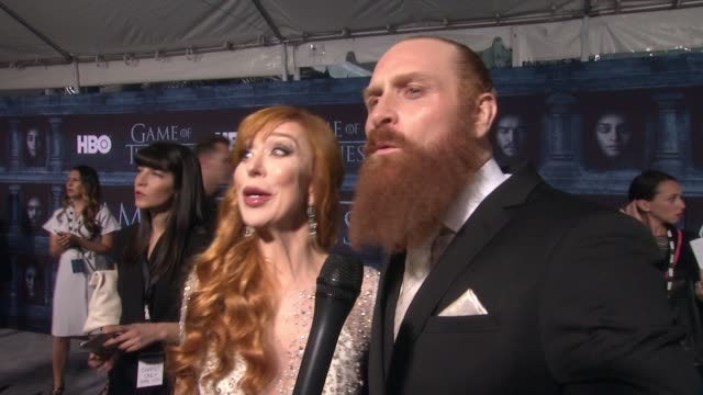 kristofer hivju and gry molvær on that he's here at the tcl chinese theater and what it means to have his show premiere at such an iconic hollywood... - tcl chinese theater stock-videos und b-roll-filmmaterial
