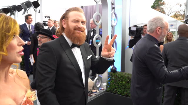 kristofer hivju at the 26th annual screen actors guild awards at the shrine auditorium on january 19, 2020 in los angeles, california. - screen actors guild awards stock videos & royalty-free footage