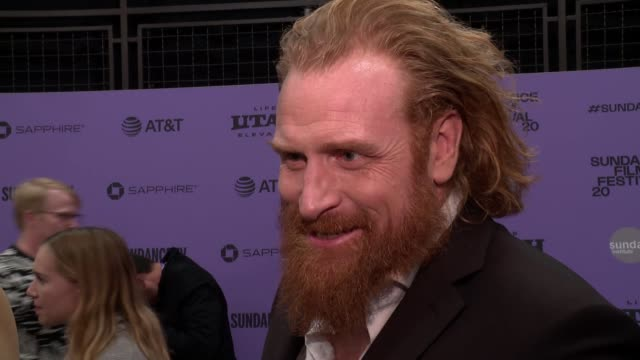 "interview kristofer hivju on the plot his character being in both the original movie and this one audience takeaways at the ""downhill"" sundance... - sundance film festival stock videos & royalty-free footage"