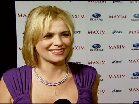 kristy swanson on attending the event, extreme sports, being a new mom to the extreme, being in maxim magazine, playing anna nicole smith on law and... - anna nicole smith stock videos & royalty-free footage