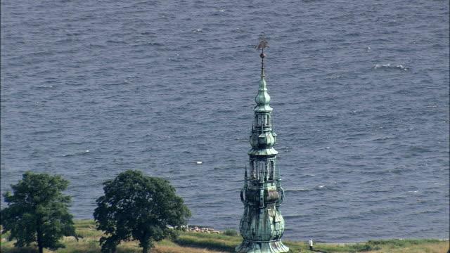 kronborg slot  - aerial view - capital region, helsingør kommune, denmark - capital region stock videos and b-roll footage