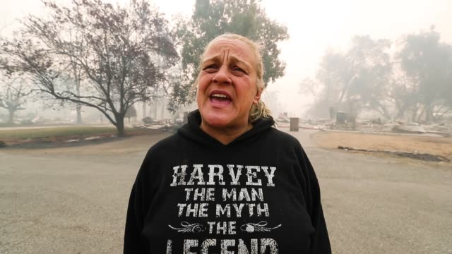 krystin harvey along with her husband, their three girls, her cousin and two dogs survived the fatal fire but lost their home. - interview raw footage stock videos & royalty-free footage