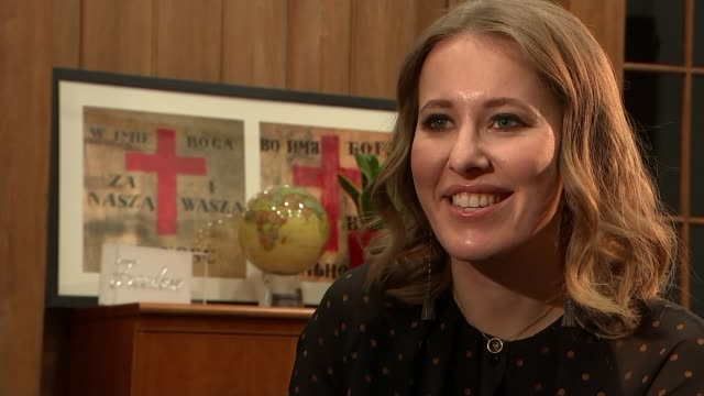 London INT Ksenia Sobchak interview SOT kind of ambitious on why she is doing it