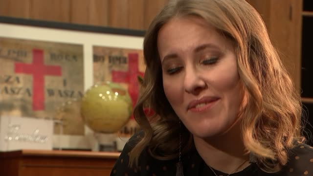 Ksenia Sobchak Presidential bid Ksenia Sobchak interview SOT On how much of vote she would like second place would be enough for this elections