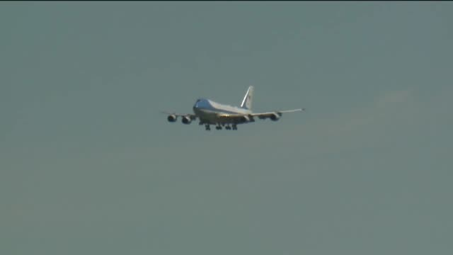 trump walking down air force one airplane in calexico - air force one stock videos & royalty-free footage