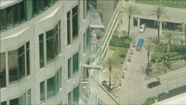 aerial view of new skyslide at us bank tower - us bank tower stock videos & royalty-free footage