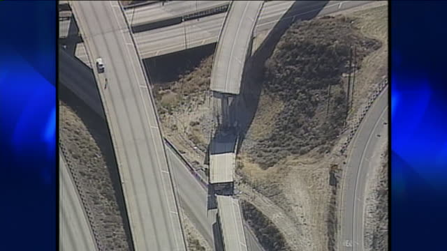 aerial view of northridge earthquake damage - 1994 stock-videos und b-roll-filmmaterial