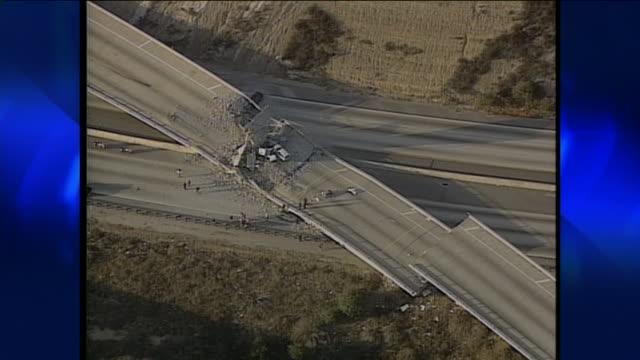aerial view of northridge earthquake damage. - northridge stock videos & royalty-free footage