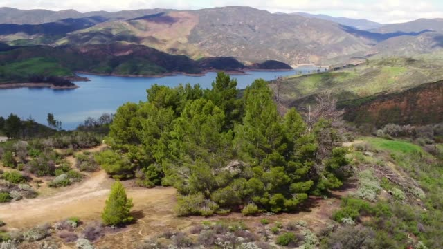 drone pov castaic lake - castaic lake stock videos and b-roll footage