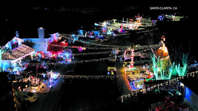 drone pov christmas lights in santa clarita - santa clarita stock videos and b-roll footage