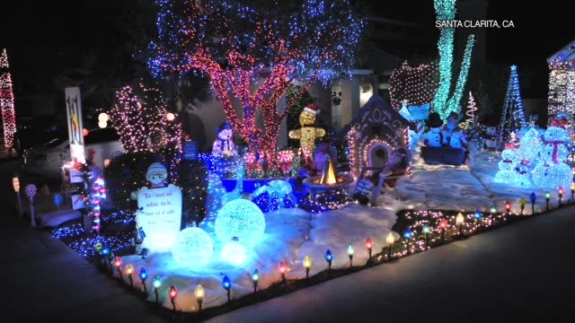 drone pov christmas lights in santa clarita - santa clarita stock videos & royalty-free footage