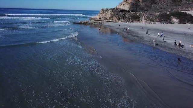 Drone POV Corona del Mar State Beach
