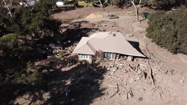 Drone POV Montecito Mudslide Aftermath