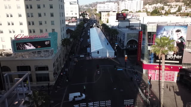 drone pov oscars preparations in hollywood - awards ceremony stock videos & royalty-free footage