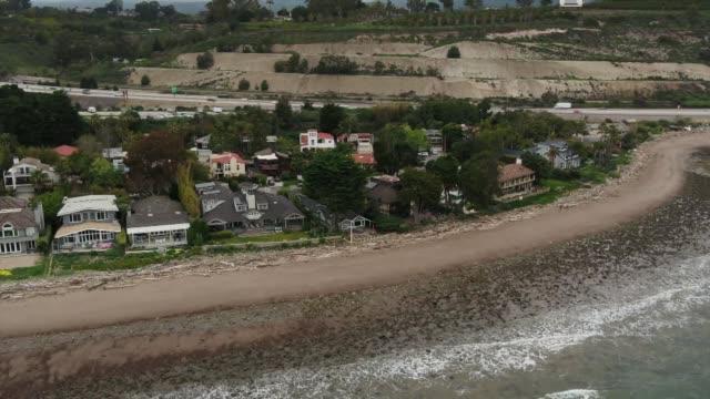 drone rincon point state beach. - santa barbara california stock videos & royalty-free footage