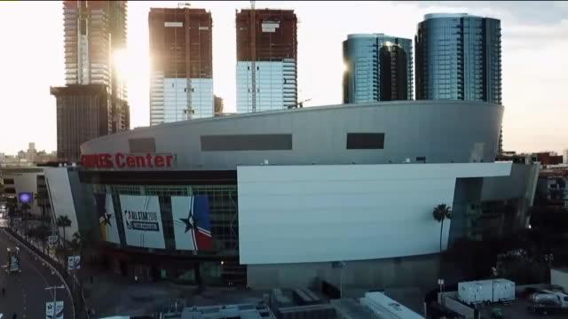 drone pov staples center - staples centre stock videos & royalty-free footage