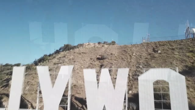 vidéos et rushes de drone us-hollywood sign - enseigne hollywood