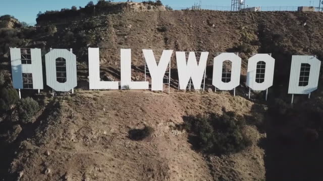 drone us-hollywood sign - hollywood sign stock videos & royalty-free footage