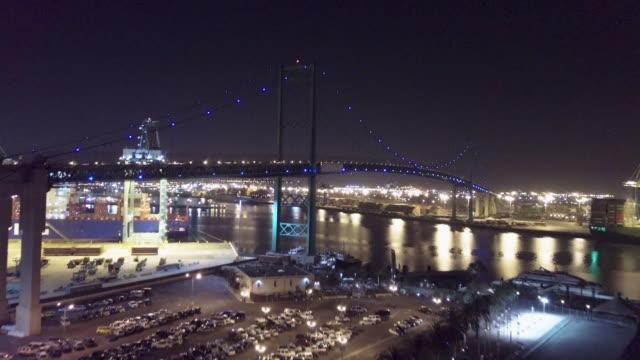 drone vincent thomas bridge - port of los angeles stock videos & royalty-free footage