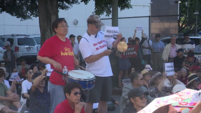 group protests against proposed homeless shelter in koreatown - homeless shelter stock videos and b-roll footage