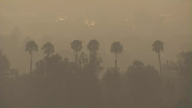 smoke ash fill the sky in la area as sand fire burns - santa clarita video stock e b–roll