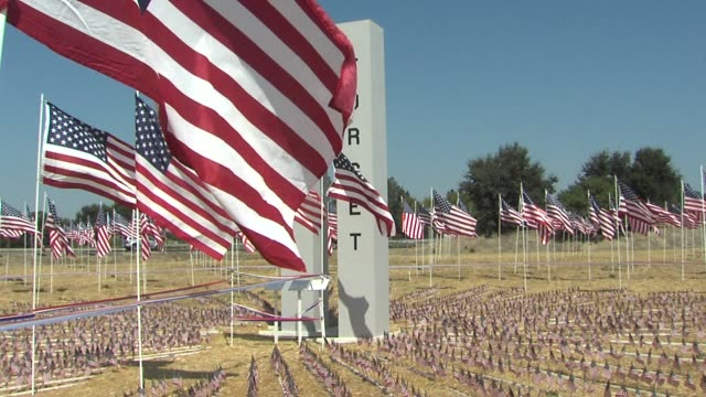 flags displayed for september 11 in sacramento. - memorial stock videos & royalty-free footage