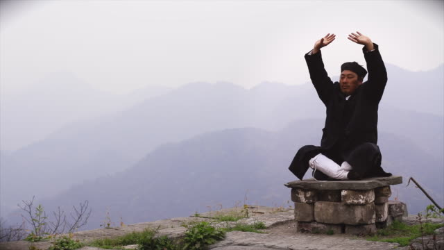 ku fu master wu meditating on ancient ruins in the wudangshan holy mountains. - カンフー点の映像素材/bロール