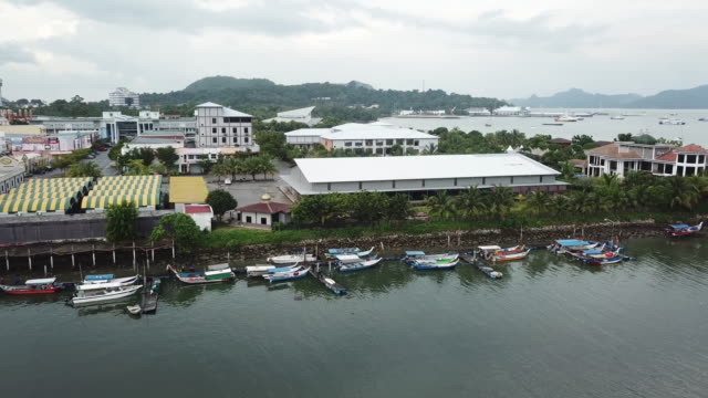kuah town jetty in langkawi, kedah with drone point of view - malaysia stock videos & royalty-free footage