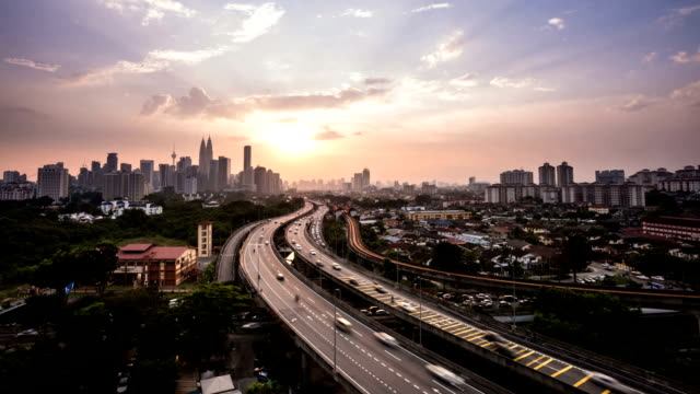 kuala lumper with sunset,time lapse - malaysia stock videos & royalty-free footage