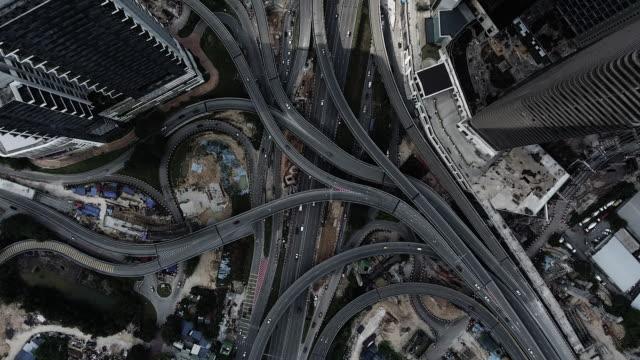 kuala lumpur aerial highway junction - kuala lumpur stock videos & royalty-free footage