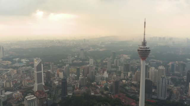 kuala lumpur aerial view of menara tower - menara kuala lumpur tower stock videos and b-roll footage