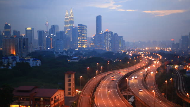 kuala lumpur cityscape at dusk, hd video - malaysian culture stock videos and b-roll footage