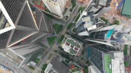 kuala lumpur cityscape downtown traffic street aerial topdown panorama 4k malaysia