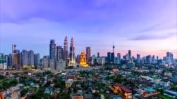 Kuala Lumpur Cityscape Landmark Travel Place Of Malaysia 4K Day to Night Time Lapse (tilt down)