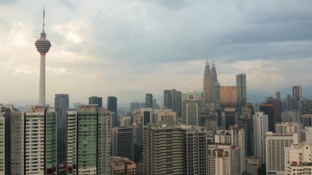 kuala lumpur downtown with tv tower and twins - menara kuala lumpur tower stock videos & royalty-free footage