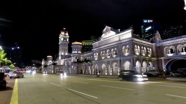 vídeos y material grabado en eventos de stock de kuala lumpur hyper lapse at night - edificio del sultán abdul samad