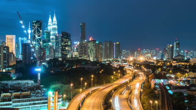 kuala lumpur, malaysia city skyline. - kuala lumpur stock videos & royalty-free footage