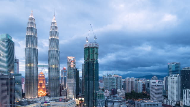 Kuala Lumpur Skyline Dusk, time lapse panning left 4k.