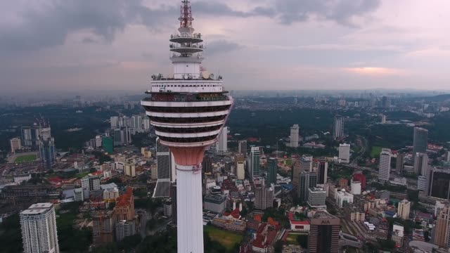 kuala lumpur skyline with kl tower - cultura malesiana video stock e b–roll